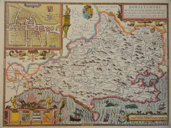 The Map Shop London.Details About Old Copy Of John Speed Map Of Dorsetshyre Dorset Dorchester 1610