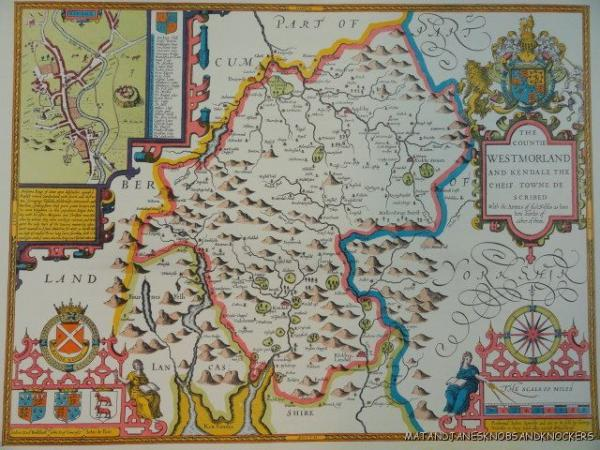 The Map Shop London.Details About Old Copy Of John Speed 1610 Map County Of Westmorland Kendal Penrith Appleby
