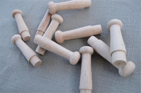 Set of 10 lovely turned beech shaker style wooden hanging for Picture hanging pegs