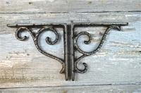 Architectural & Garden PAIR OF ARTS AND CRAFTS LEAF CAST IRON SHELF BRACKETS SHELVING SHELVES