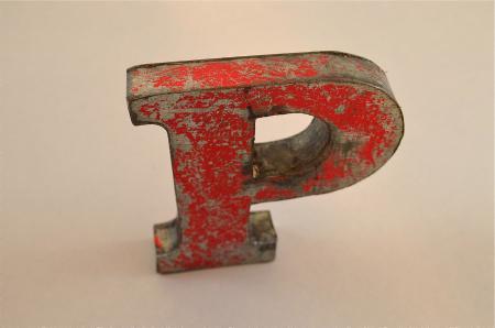 FANTASTIC VINTAGE STYLE RED 3D METAL SHOP SIGN NUMBER 4 ADVERTISING FONT