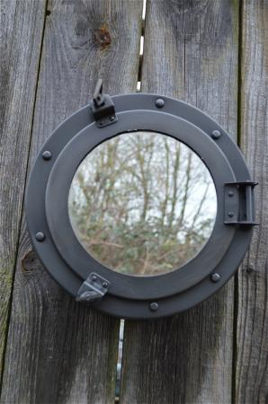 style steel ships porthole bathroom cabinet aged finish wall mirror