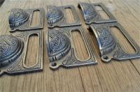 A SET OF 10 LARGE EDWARDIAN CAST IRON LABEL FRAME HANDLE FILING DRAWER PULL CB10