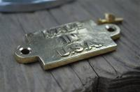 Small vintage solid brass MADE IN USA plaque sign furniture emblem