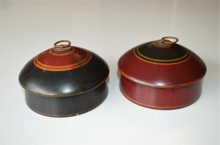 A Pair Of Beautiful Antique Round Wooden Spice Box