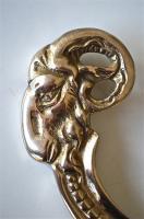 Set of 5 large Edwardian brass ram head coathook wall door hanger coat hook AL77 Antiques