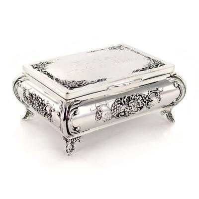 Antique Grape Design Silver Jewelry Box Engraved Christmas Gift