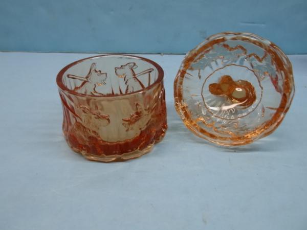 Scottish Terrier Scottie Dog Vintage Akro Agate Glass Powder Jar USA