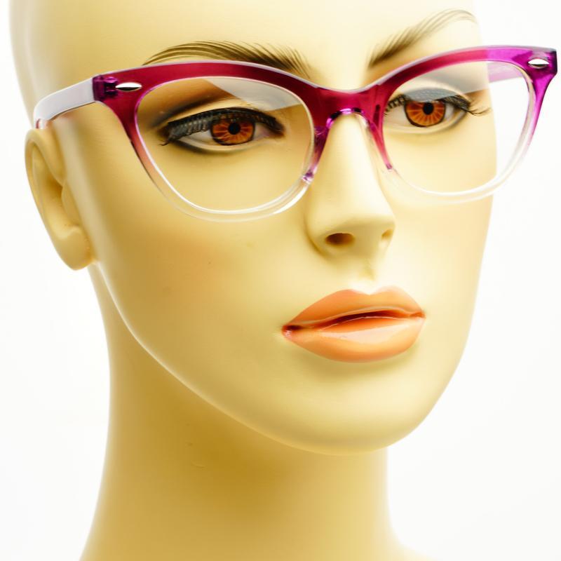 Large Framed Cat Eye Reading Glasses : Sleek Modern Reading Style Half Tinted Clear Lens Cat Eye ...