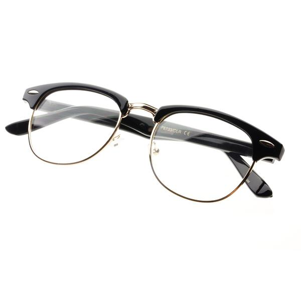 New Half Frame Clubmaster Retro Clear Lens Wayfarer Eye ...