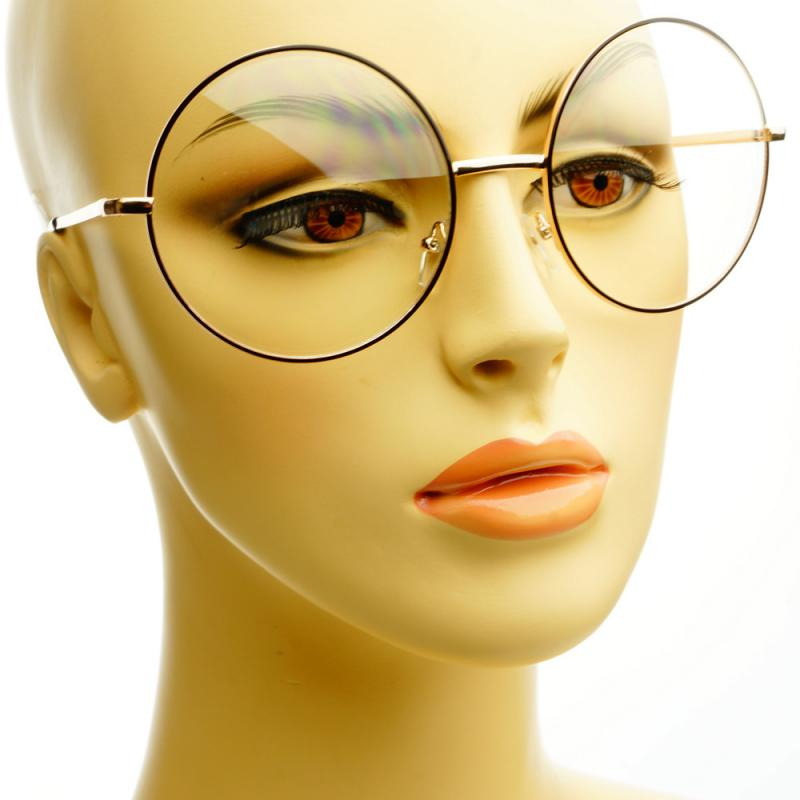 Oversized Gold Frame Sunglasses : Vintage Retro Clear Lens Metal Oversized Circle Round ...