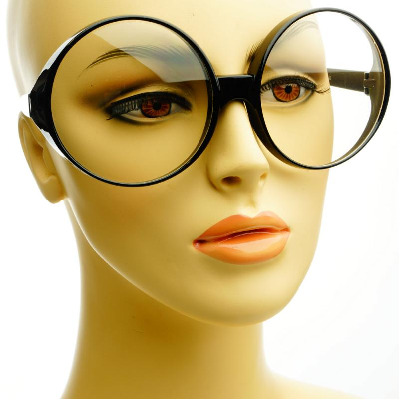 Womens Retro Vintage Style Clear Lens Large Oversized ...