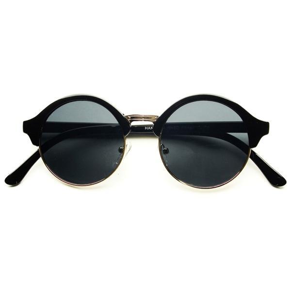 Vintage Round Gold Frame Sunglasses : Retro Vintage Fashion Style Round Circle Half Frame ...