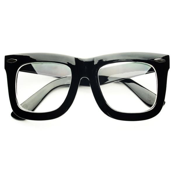 Big Black Frame Nerd Glasses : Large Geek Nerd Thick Framed Clear Lens Wayfarer Eye ...