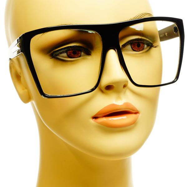 Large Retro Vintage Style Nerd Geek Square Flat Top Clear ...