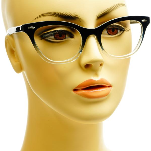 Womens Modern Style Half Tinted Clear Lens Cat Eye Glasses ...