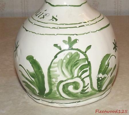 Verde Y Blanco Cerámica Vidriada Firmado Studio Vaze 8 T