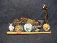 Vintage Junk Drawer Lot Sports Related Pin Pen Medal Dodgers Orioles
