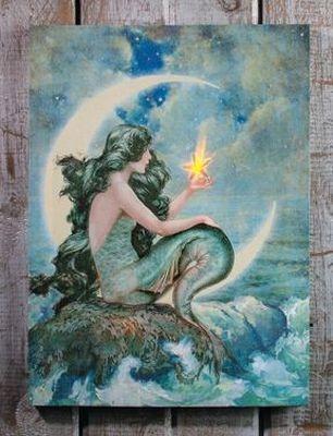 Mermaid Flicker Flame Starfish Crescent Moon Lighted ...