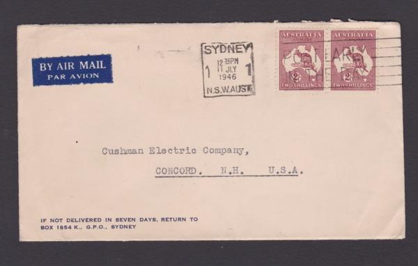 australia 1946 2 kangaroo letter sydney to usa fine pair da29 ebay. Black Bedroom Furniture Sets. Home Design Ideas