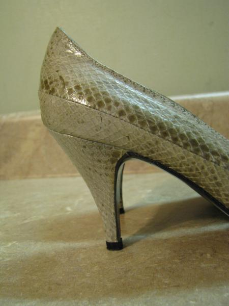 ce2f393270c Details about IMPO VTG 80's SNAKESKIN PUMPS Brown/Gray/Taupe POINTY TOE  HIGH HEEL SHOES 5.5 B
