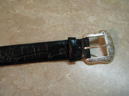 new o s ranger co black mock croc leather western belt