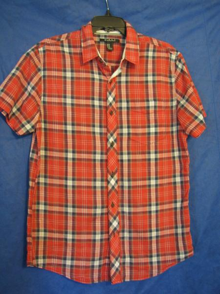 25d6eb35 FOREVER 21 MEN Super Lightweight Cotton PLAID BUTTON-UP SHIRT Red ...