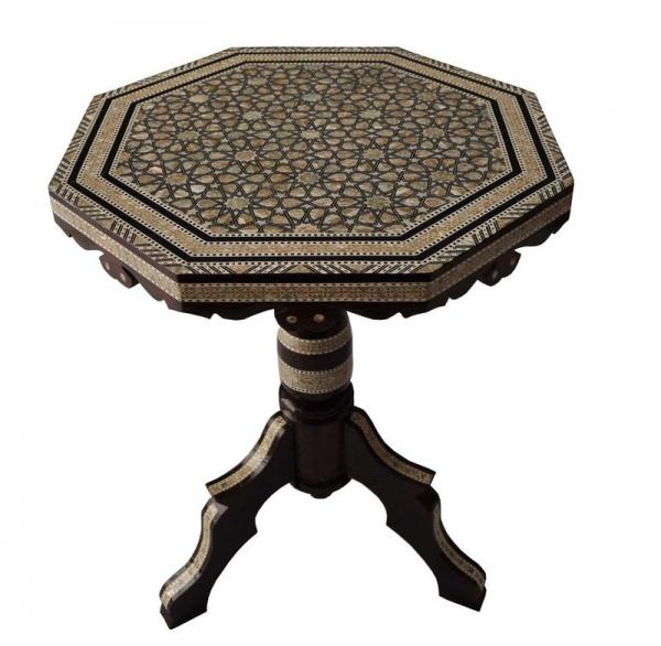 Egyptian Mother Of Pearl Mosaic Inlaid Wood Octagonal Coffee Table