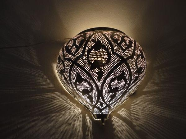 Moroccan Wall Lights Silver : Moroccan Silver Plated Brass Wall Sconce Lamp Light eBay