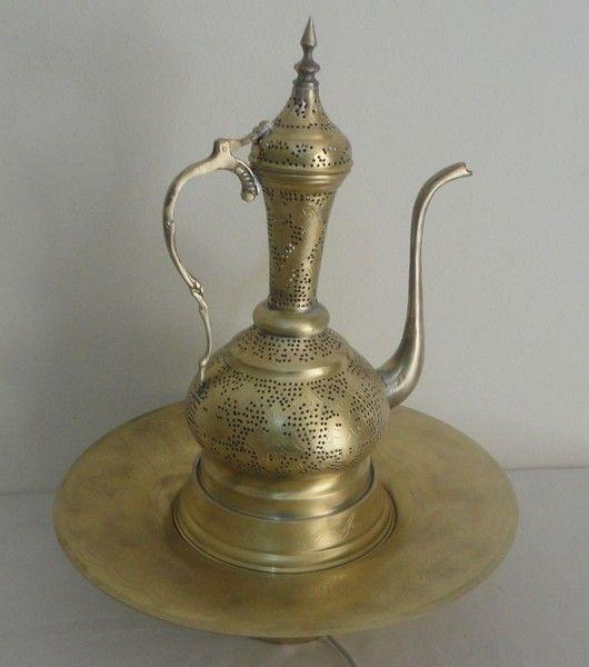 Middle Eastern Brass Pitcher Amp Bowl Table Floor Lamp 1 Ebay