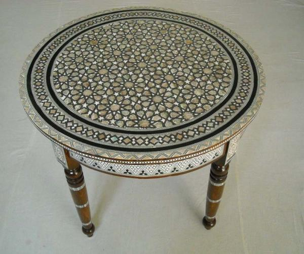 Moroccan Mother Of Pearl Mosaic Wood Round Coffee Table Ebay