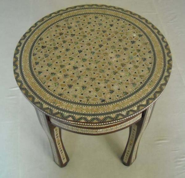 Egyptian Round Mosaic Mother Of Pearl Wood Coffee Table