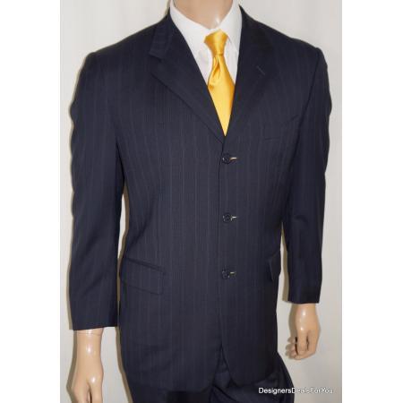 6bd8c3dc2 40S Barneys New York Men 40 S Suit Navy Pinstripe 35W Pleats Cuff | eBay