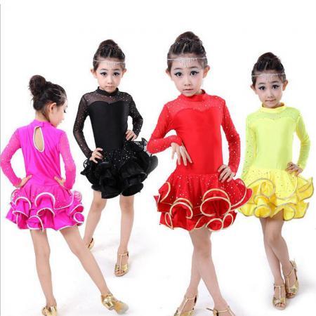 8ec8b8b75938a Red Girls Professional Latin Dancewear Costumes Kids Ballroom tutu ...