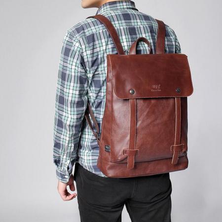 Uomo business zaino di cuoio borse vintage valigetta for Zaino ufficio uomo pelle