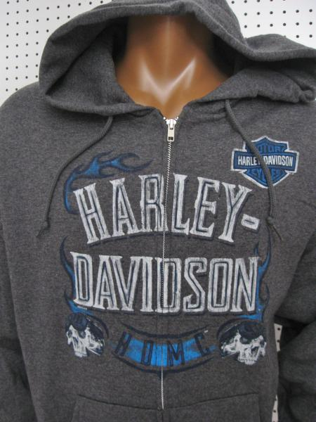 Details about XL nwt HARLEY DAVIDSON Flame Skull Charcoal Heather Full Zip Hoodie Sweatshirt