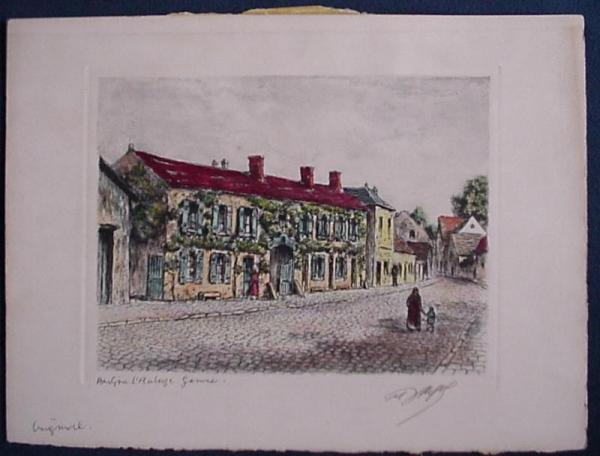 Details about French Etching - Maurice Jacque - Barbizon Hotel Ganne