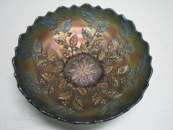 Fenton Holly Carnival Glass Bowl 8 3/8 Diameter x 2 1/2 Tall