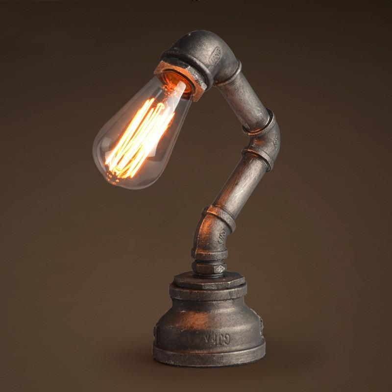 Industrial Light Stands: Industrial Metal Pipe Steampunk Stand Lamp With Victorian