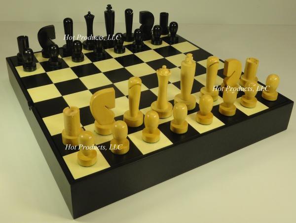 Staunton Wood Modern Chess Men Set Black Natural Boxwood