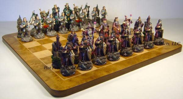 Medieval times king arthur chess set w large 19 maple wood burlwood board ebay - Medieval times chess set ...