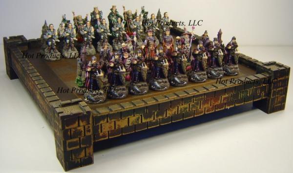 Medieval times king arthur chess set w 17 castle board ebay - Medieval times chess set ...