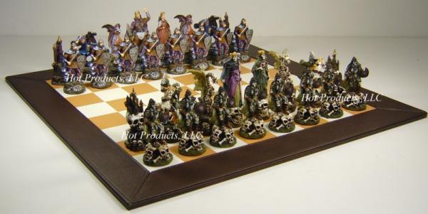 Skeleton Fantasy Dragon Chess Set W 18 Brown Board Ebay