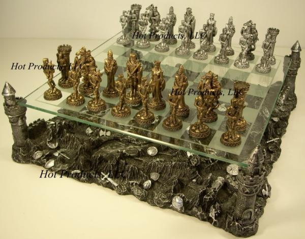 Medieval Times Pewter Metal Chess Set Glass Board Ebay