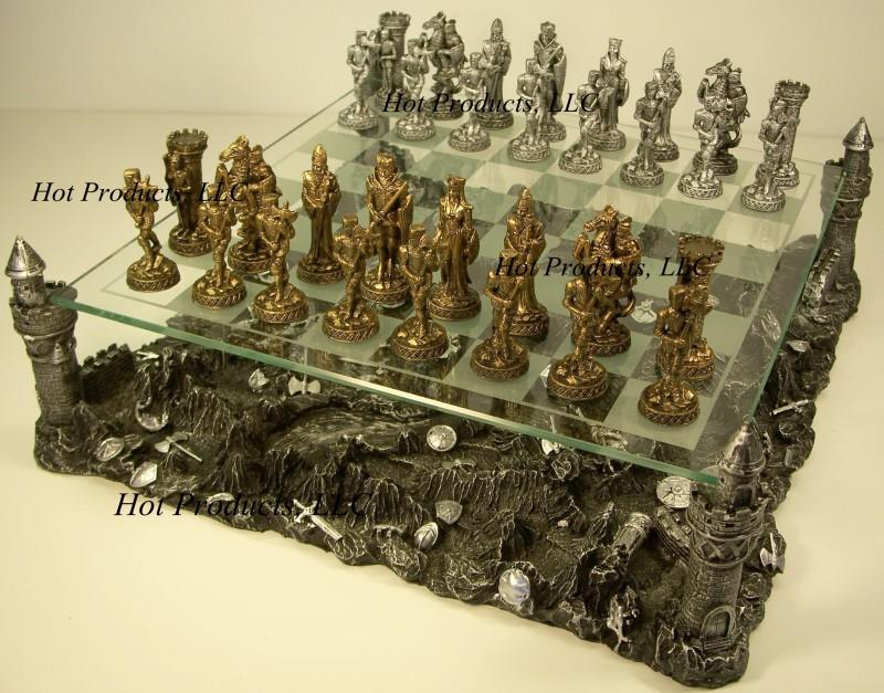 Pewter Metal Medieval Times Crusades Knight Chess Set W