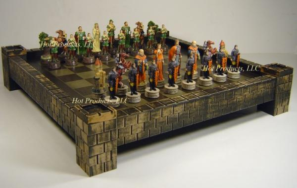 Medieval times robin hood chess set 17 castle fortress board ebay - Medieval times chess set ...