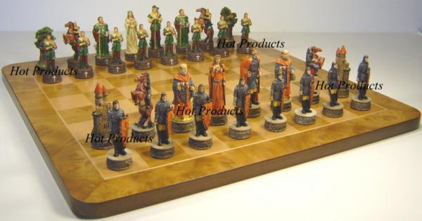 Medieval times robin hood chess set w large 19 maple wood burlwood board ebay - Medieval times chess set ...