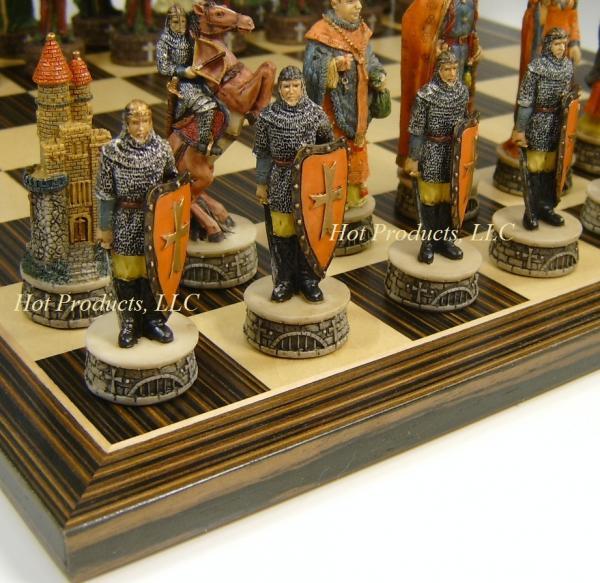 Medieval times robin hood chess set w ebony black maple 14 wood board ebay - Medieval times chess set ...