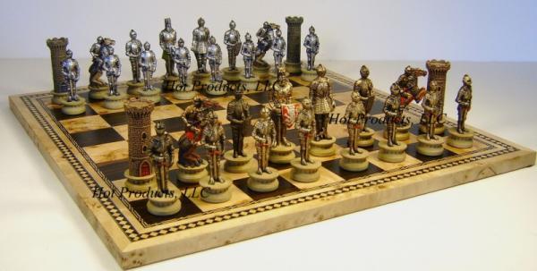 Medieval times warrior chess set w 16 burlwood board new - Medieval times chess set ...