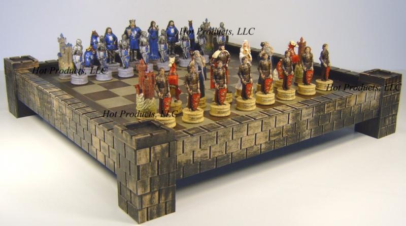 Medieval times king arthur chess set 17 castle board ebay - Medieval times chess set ...